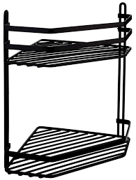 satina black double corner bathroom or shower caddy size