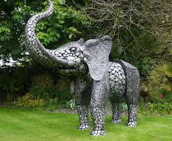 metal size elephant silver garden sculptures ornaments