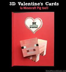 minecraft valentines cards 3d s a minecraft pig my cookbook low carb