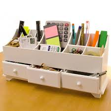 wooden desk tidy caddy with three drawers and 13 organiser