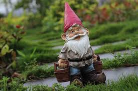 poly resin creative garden gnome figurine carry water courtyard