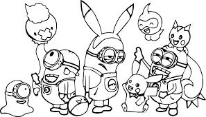 minions pokemon family coloring page wecoloringpage