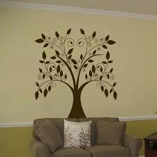 large swirling tree falling leaves vinyl wall decal