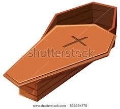 wooden coffin wooden coffin cross symbol illustration stock vector 539694775