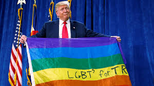 Lgbt Flag Meaning Donald Trump Unfurled A Rainbow Flag With Lgbt Written On It At A