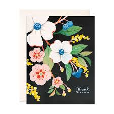 navy floral thank you card joojoo paper