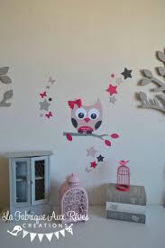 hibou chambre bébé stickers hibou étoiles papillon poudré fuchsia framboise