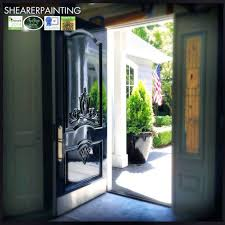 house designs with cool white front door trim behind the closed