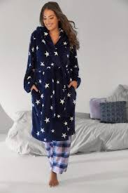 robes de chambre grandes tailles robe de chambre bleue marine imprimé étoile avec capuche grandes
