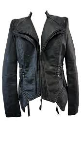 motorbike coats ladies leaterlook jacket motorbike with silver details check out