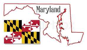 maryland map vector outline map of the state of maryland with map inset stock vector