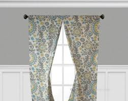 Gray Blue Curtains Designs Items Similar To Gray Blue Yellow Curtain Panels Damask Floral