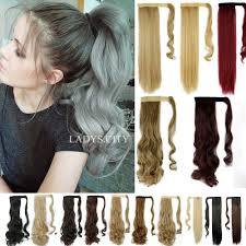 Real Ponytail Hair Extensions by Clip In Ponytail Pony Tail Hair Extension Wrap On Hair Piece Wavy