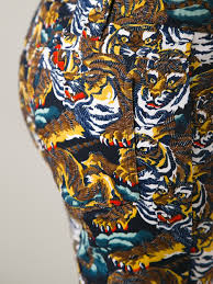 kenzo tiger print trouser in blue lyst