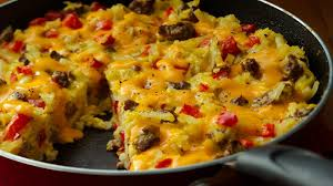cheesy hashbrowns frittata recipe bettycrocker com