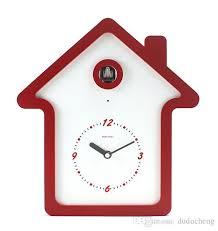 geekcook children cartoon wall clock modern design wooden cuckoo
