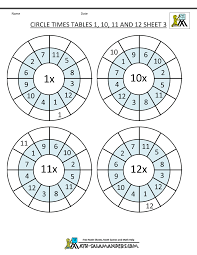 times table worksheet circles 1 to 12 times tables