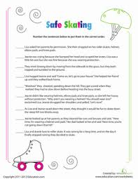 story sequencing roller skating worksheet education com