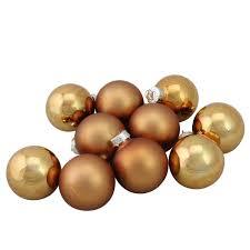 10 shiny and matte copper glass ornament set