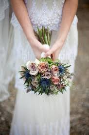 blue wedding bouquets dusty pink and blue wedding bouquet