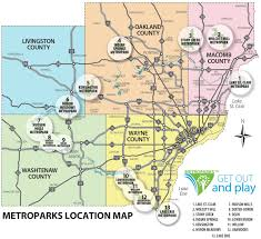 Map Of Michigan Lakes Metro Detroit Park Locations Metropark Maps Indian Springs And