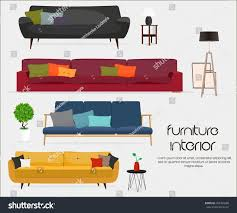 interior sofa sets home accessories furniture stock vector interior sofa sets and home accessories furniture design sofas with pillows lamps