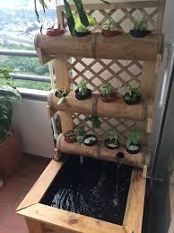 home made ornamental aquaponics bamboo vertical garden diy