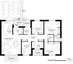 plan de maison 3 chambres salon salon de jardin d angle 8 plan maison avec 3 chambres et bureau