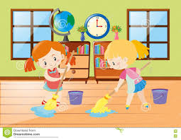 two girls cleaning room stock vector image 78348361