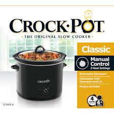 3 Crock Pot Buffet Recipes by Crock Pot 4 Quart Slow Cooker Black Scr400 B Walmart Com