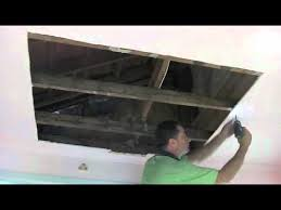 Ceiling Water Damage Repair by Water Damagedrywall Plaster Ceiling Repair Part One Youtube