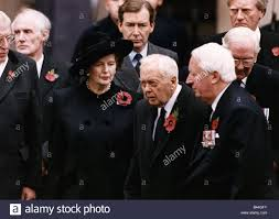 margaret thatcher with 3 other ex premiers on remembrance sunday