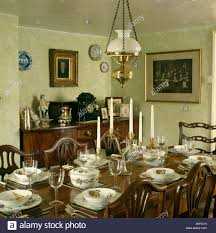 Lighting Over Dining Room Table Victorian Style Lamp Over Antique Table With Fruit Patterned