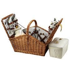 picnic basket set for 4 picnic at ascot huntsman style willow picnic