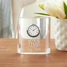 Small Glass Desk Clock Personalized Graduation Gifts At Personal Creations