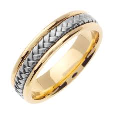 comfort wedding band mens 14k gold 2 tone comfort fit braided wedding band pompeii3