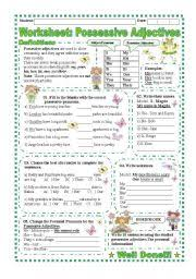 english teaching worksheets possessive adjectives