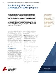 business continuity disaster recovery plan template sungard as