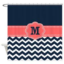 Navy And Coral Shower Curtain Navy Chevron Shower Curtains Cafepress