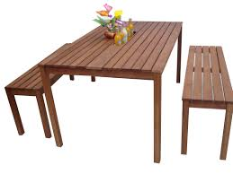 nice wooden bench and fetching wooden table for attractive outdoor