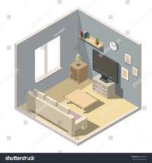 Living Room Interiors Isometric Living Room Interiors Vector 3d Stock Vector 682822630