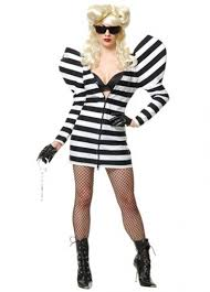 Convict Halloween Costumes Lady Gaga Striped Gown Halloween Costume Prisoner Halloween Costumes