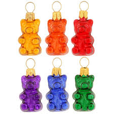 set of 6 mini gummy bears glass ornaments novelty nostalgia