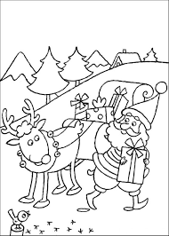 rudolph and santa sleigh coloring pages for christmas coloring