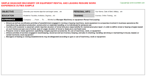 Leasing Agent Duties Resume Manager Machinery Or Equipment Rental And Leasing Job Title Docs