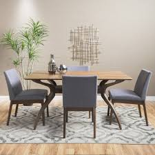Noble House Dining Chairs Noble House Caruso Natural Walnut Wood Dark Grey 5 Piece Dining