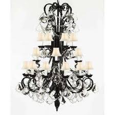 harrison lane 5 light crystal chandelier black harrison lane chandeliers lighting the home depot