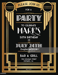 art deco party invitation template in black and gold vector art