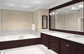 brown bathtub and dark brown wooden bathroom vanity connected by