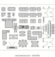 architecture plans architecture plan furniture top view stock vector 405020740